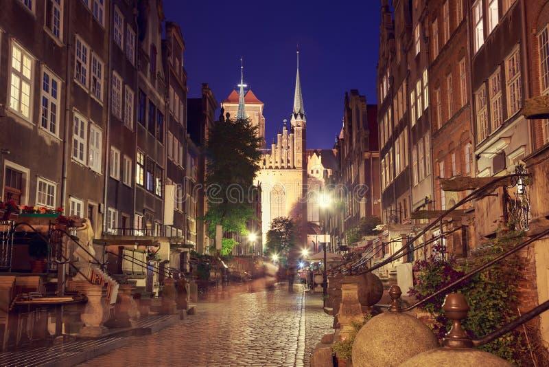 Rue de vieille ville de Danzig la nuit photo libre de droits