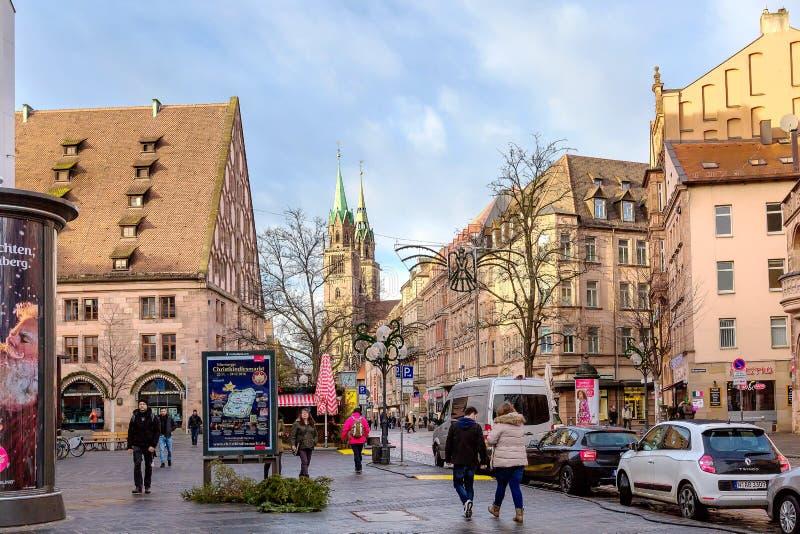 Rue de ville à Nuremberg, Allemagne photographie stock libre de droits