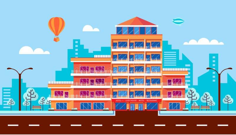 Rue de ville avec l'hôtel, appartements, immeuble, dépendance, architecture moderne dans le style plat illustration stock