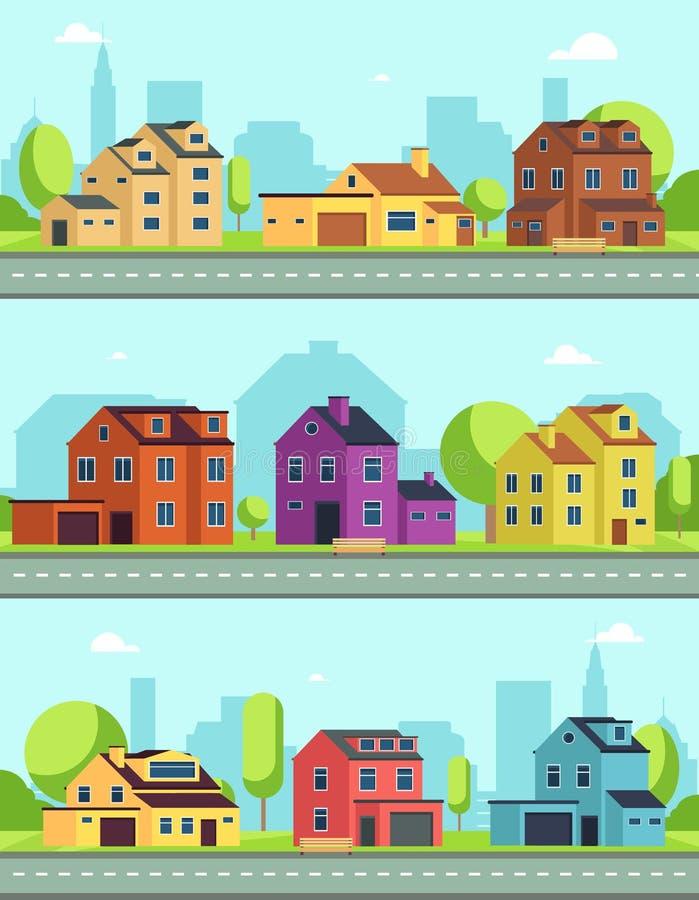 Rue de ville avec les bâtiments, la route suburbaine et les maisons, cottages Paysages urbains horizontaux sans couture de vecteu illustration de vecteur