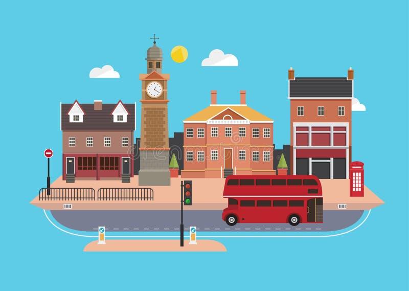 Rue de ville dans le style plat de conception, Royaume-Uni illustration libre de droits