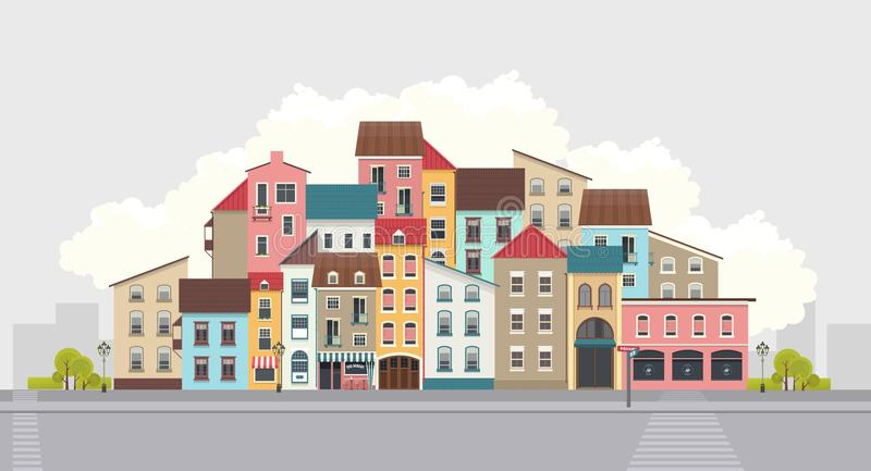 Rue de ville horizontale illustration stock