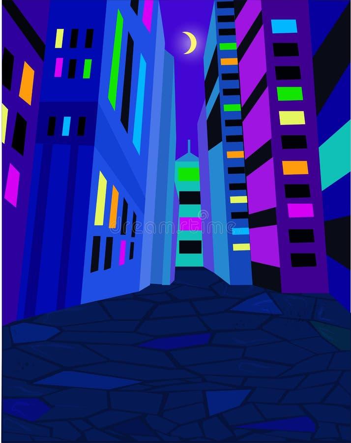 Rue de ville de nuit avec les lumières lumineuses Lune dans le ciel Illustration de vecteur illustration libre de droits