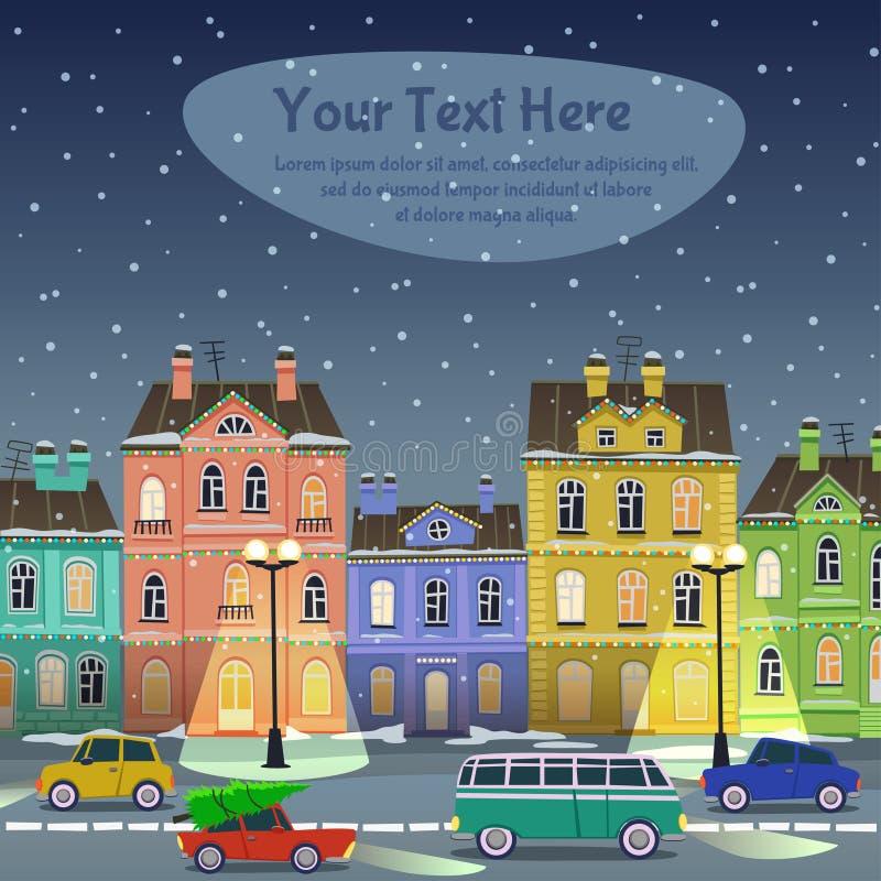 Rue de ville, nuit de Noël illustration libre de droits