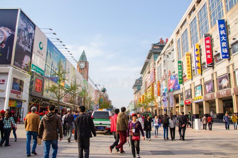 Rue de Wangfujing, Pékin photos stock