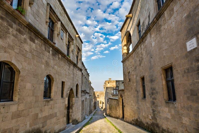 Rue des chevaliers, Rhodes, Grèce photographie stock