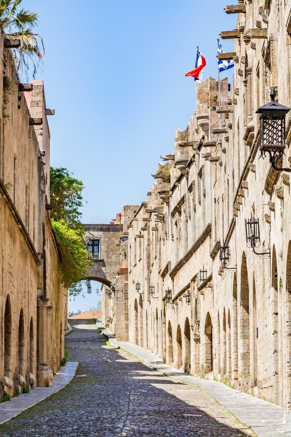 Rue des chevaliers, Rhodes, Grèce photos stock