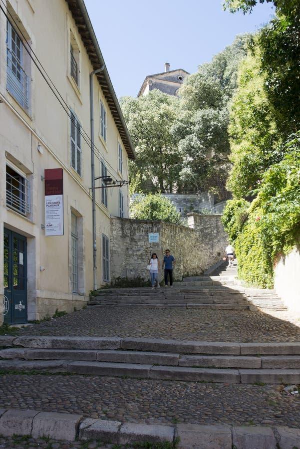 Rue des Escaliers Sainte-Anne, Avignon, Frankrijk stock fotografie