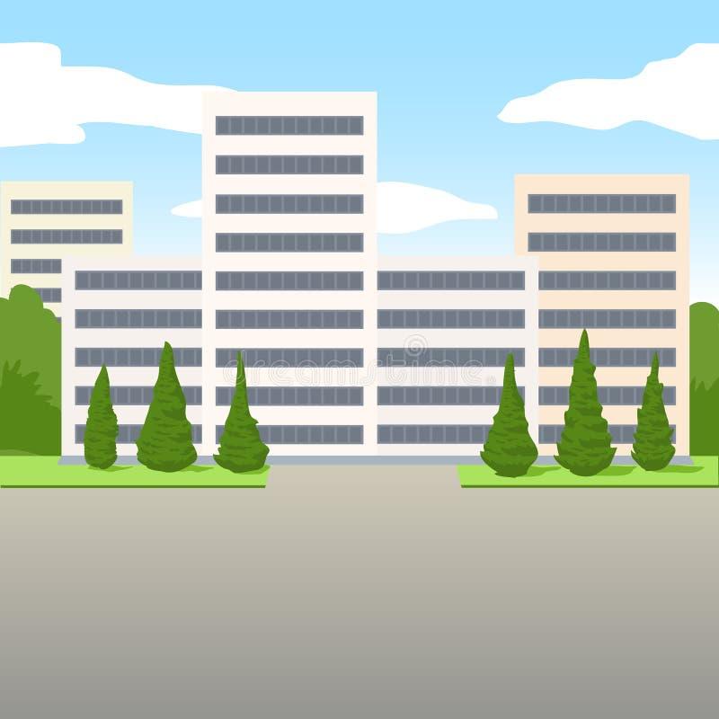 Rue devant des blocs ou des bureaux d'appartement dans un gratte-ciel dans une ville Illustration de vecteur illustration libre de droits