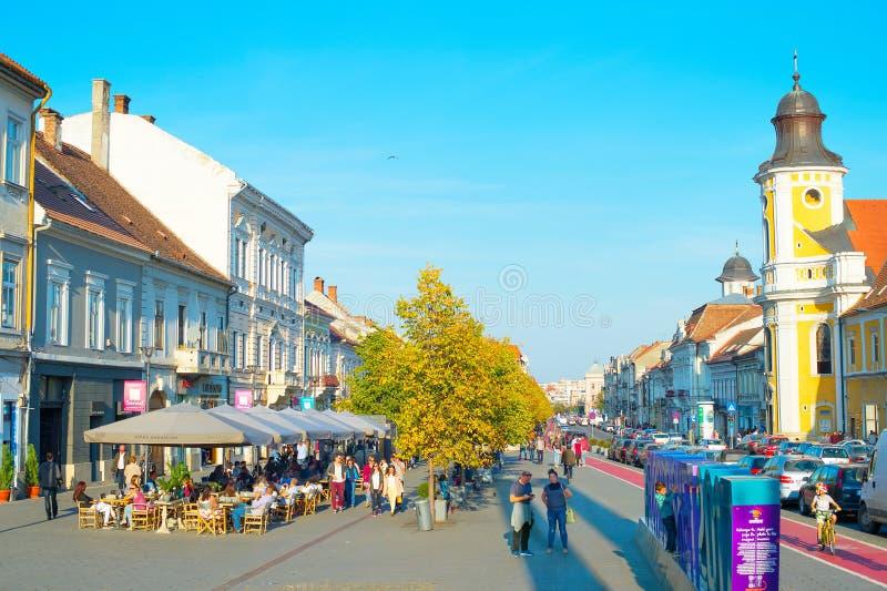 Rue du centre de Cluj Napoka Roumanie photographie stock