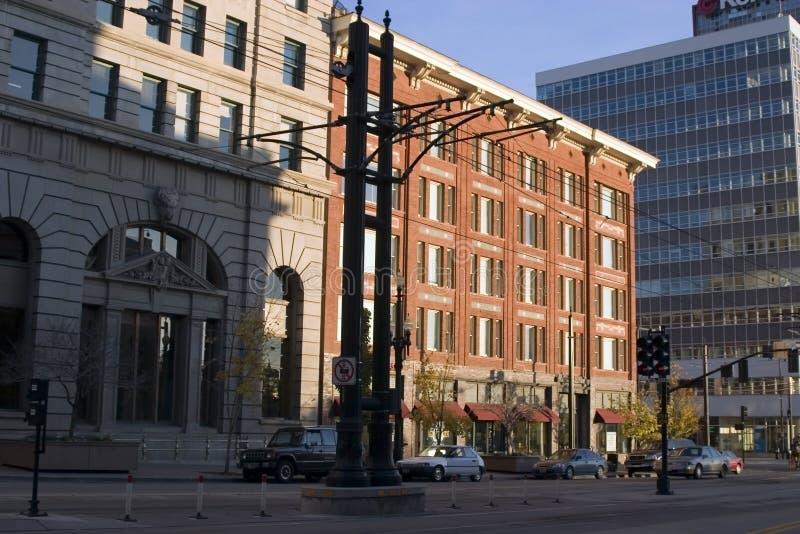 Rue du centre et les constructions images libres de droits
