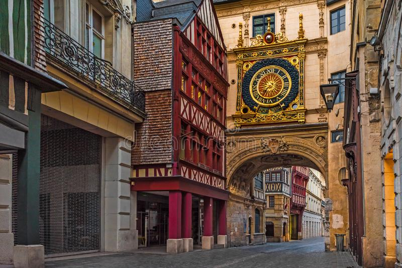 Rue du Gros Horloge or Great-clock street with famos Great clocks in Rouen, Normandy, France royalty free stock photos