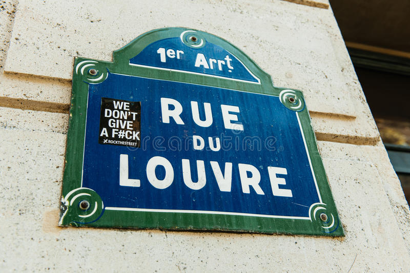 Rue du Louvre with city sticker on it as seen in the 1st arrondissement of Paris royalty free stock images