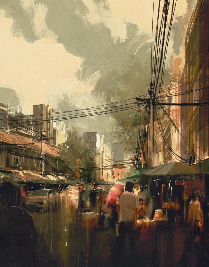 Rue du marché, paysage urbain coloré illustration de vecteur