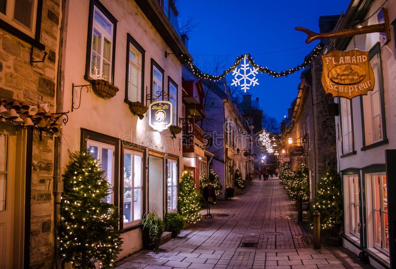 Rue du Petit-Champlain at Lower Old Town Basse-Ville decorated for Christmas at night - Quebec City, Quebec, Canada. Rue du Petit-Champlain at Lower Old Town royalty free stock image