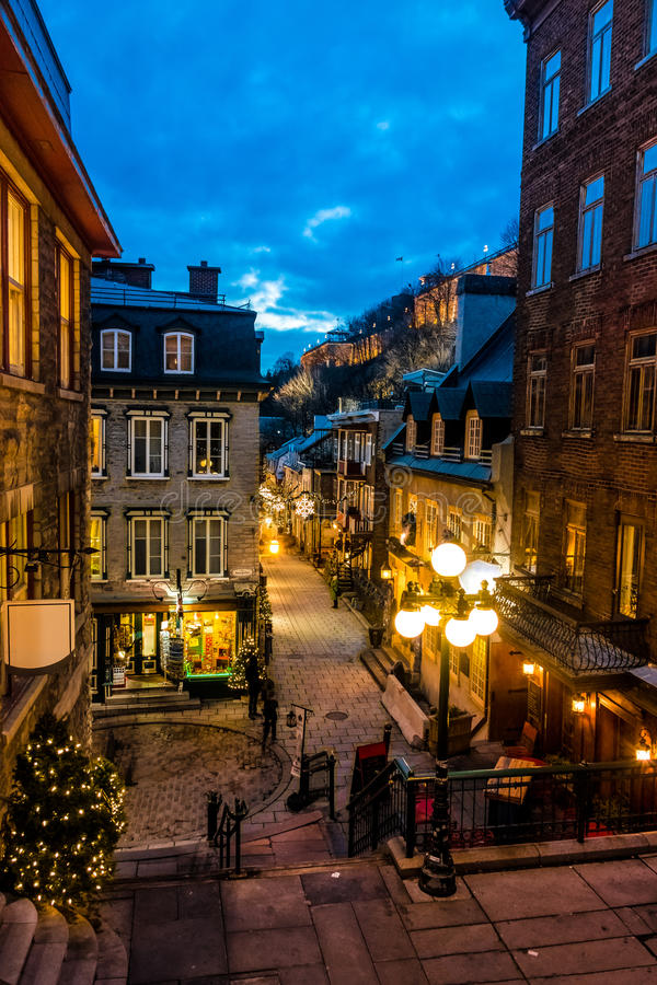 Rue du Petit-Champlain at Lower Old Town Basse-Ville at night - Quebec City, Canada. Rue du Petit-Champlain at Lower Old Town Basse-Ville at night in Quebec City royalty free stock image