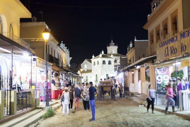 Rue en EL Rocio la nuit, Espagne photographie stock libre de droits