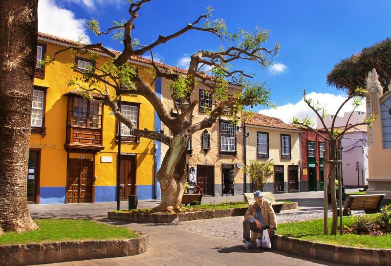 Rue en vieille capitale de Ténérife (La Laguna) Les Îles Canaries, Espagne photo libre de droits