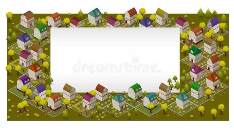 Rue et Chambres plates Concept isométrique d'Infographic 3d de navigation de GPS de paysage illustration stock