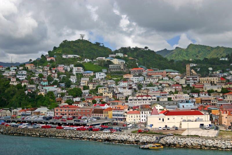 Rue George, Grenada, port images libres de droits