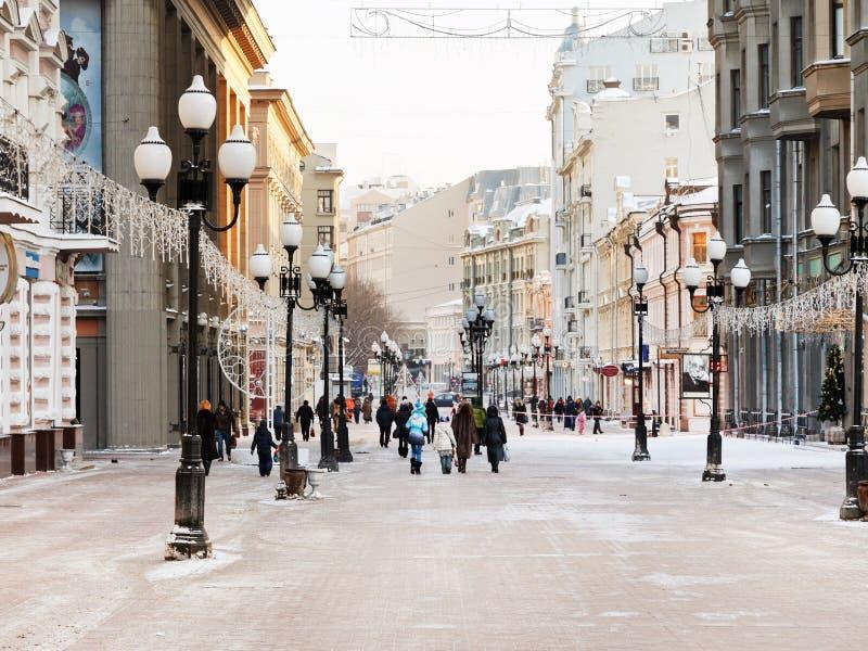 Rue historique d'Arbat de piéton à Moscou images stock