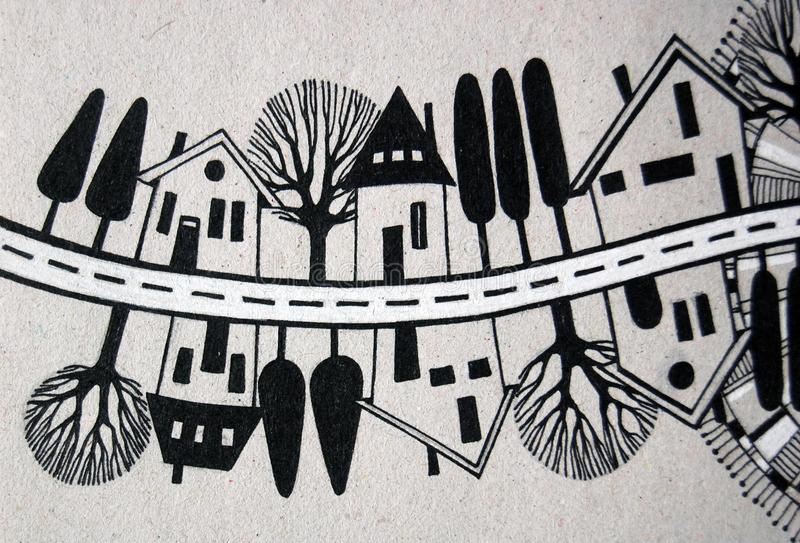 Rue illustrée avec des maisons et des arbres illustration de vecteur