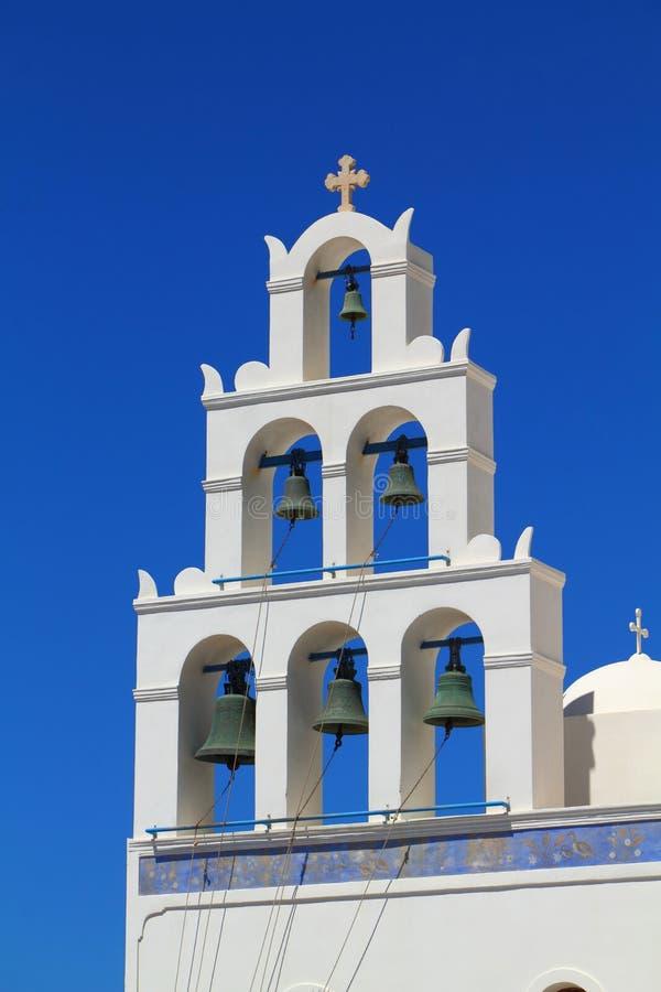 Rue Irene d'église d'Oia, Santorin image stock