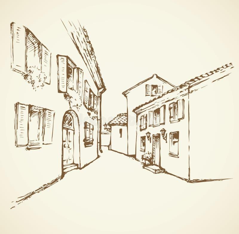 Rue ity de vieux  de Ñ Retrait de vecteur illustration libre de droits