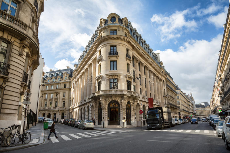 Rue La Fayette, Paris. PARIS, FRANCE - March 2, 2015: Typical acrhitecture of the famous Rue La Fayette in central Paris on an early spring day. March 2nd 2015 royalty free stock photos
