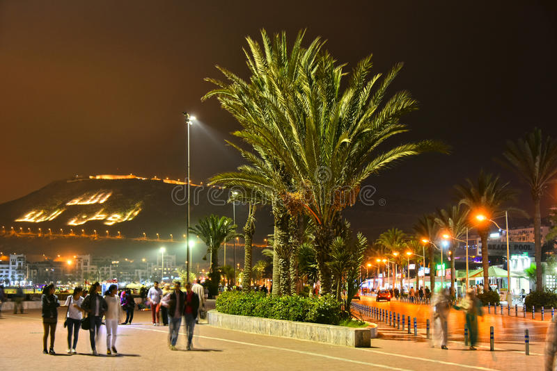 Rue La Plage by night in Agadir, Morocco. AGADIR, MOROCCO - SEPT 29, 2016: Rue La Plage by night. Agadir is one of the major urban centres of Morocco and famous royalty free stock image