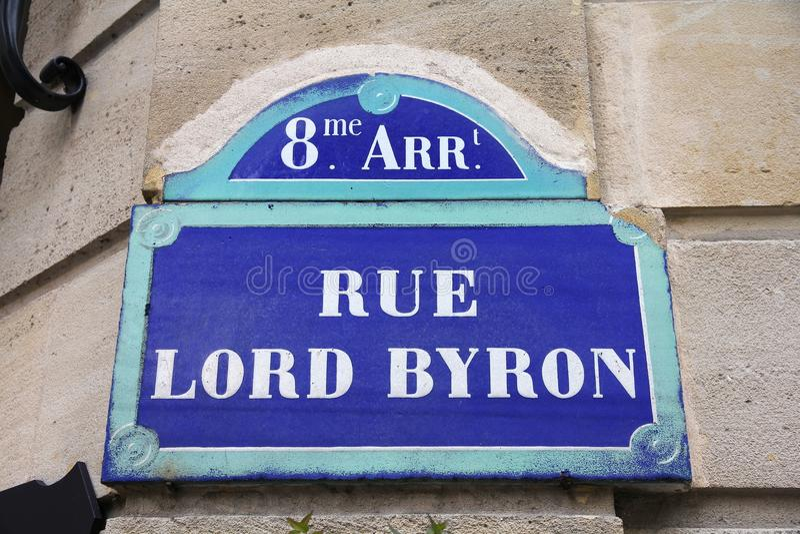 Rue Lord Byron arkivbilder