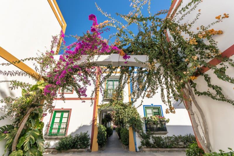 Rue luxuriante colorée dans Puerto de Mogan photographie stock
