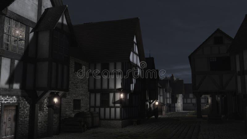 Rue médiévale de ville la nuit illustration de vecteur