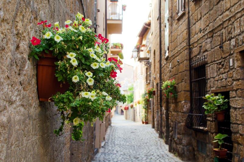 Rue médiévale italienne d'Orvieto fleurie photo stock