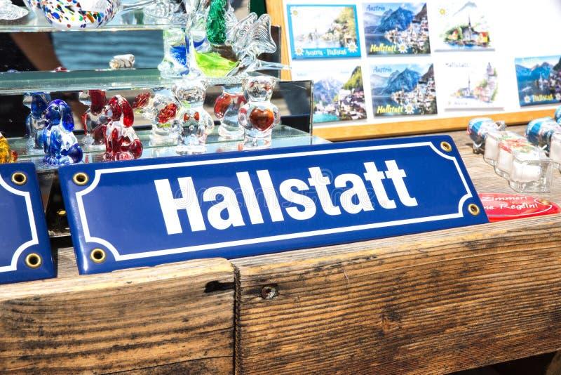 Rue Mark Letters Word Souvenirs de Hallstadt Autriche photographie stock libre de droits