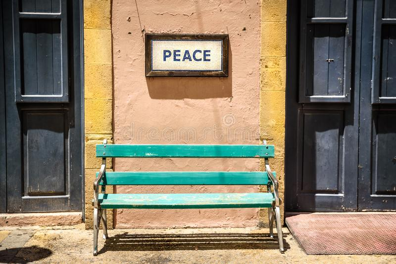 Rue Nicosie Chypre de Ledra de point de contrôle de frontière photo stock
