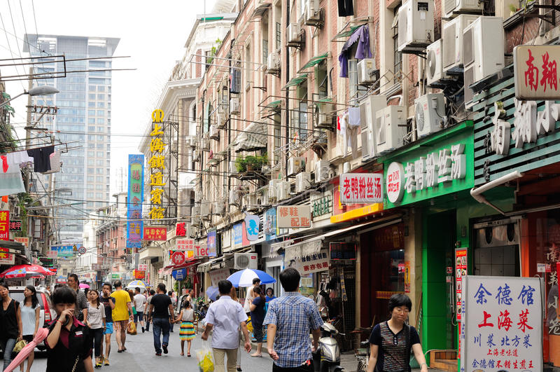 Rue passante en Chine image stock