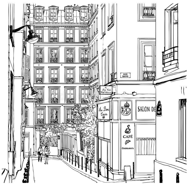 Rue près de Montmartre à Paris illustration libre de droits