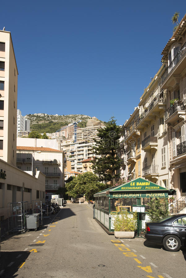 Rue Princesse Antoinette, Monaco. Rue Princesse Antoinette street in Monaco City district, Monaco. Monaco is a sovereign city-state and microstate, located on royalty free stock photo