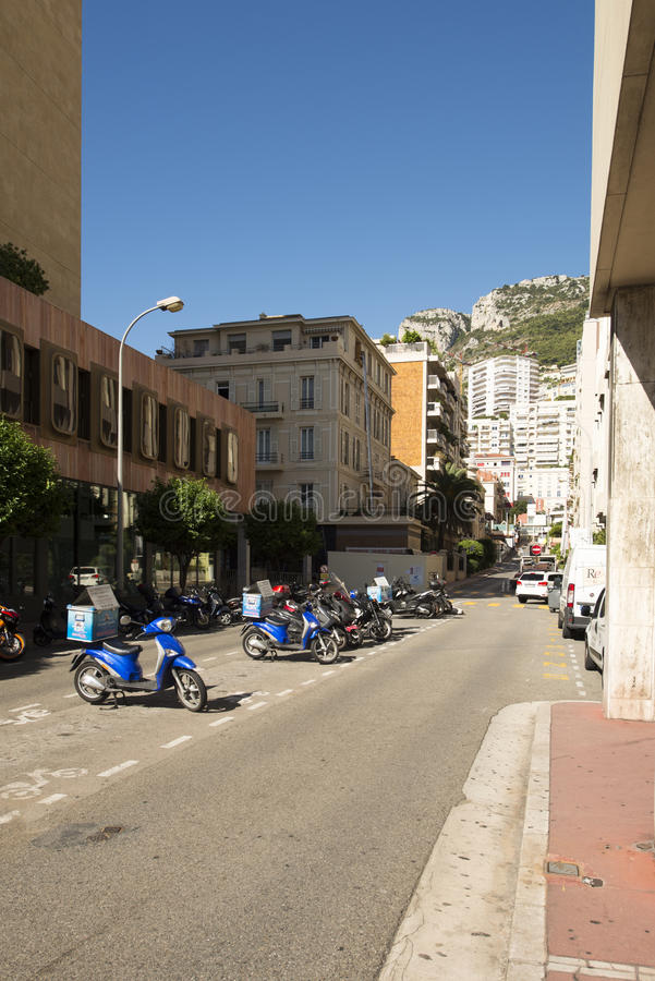 Rue Princesse Antoinette, Monaco. Rue Princesse Antoinette street in Monaco City district, Monaco. Monaco is a sovereign city-state and microstate, located on royalty free stock image