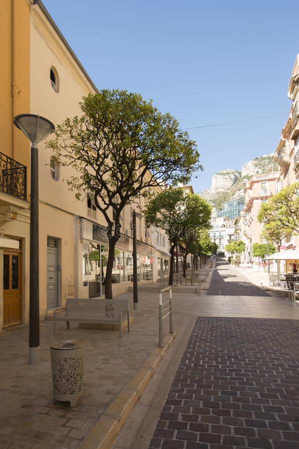 Rue Princesse Caroline, Monaco. Rue Princesse Caroline street in Monaco City district, Monaco. Monaco is a sovereign city-state and microstate, located on the stock photography