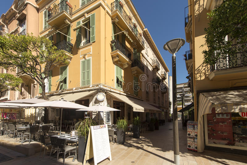 Rue Princesse Caroline, Monaco. Rue Princesse Caroline street in Monaco City district, Monaco. Monaco is a sovereign city-state and microstate, located on the royalty free stock images