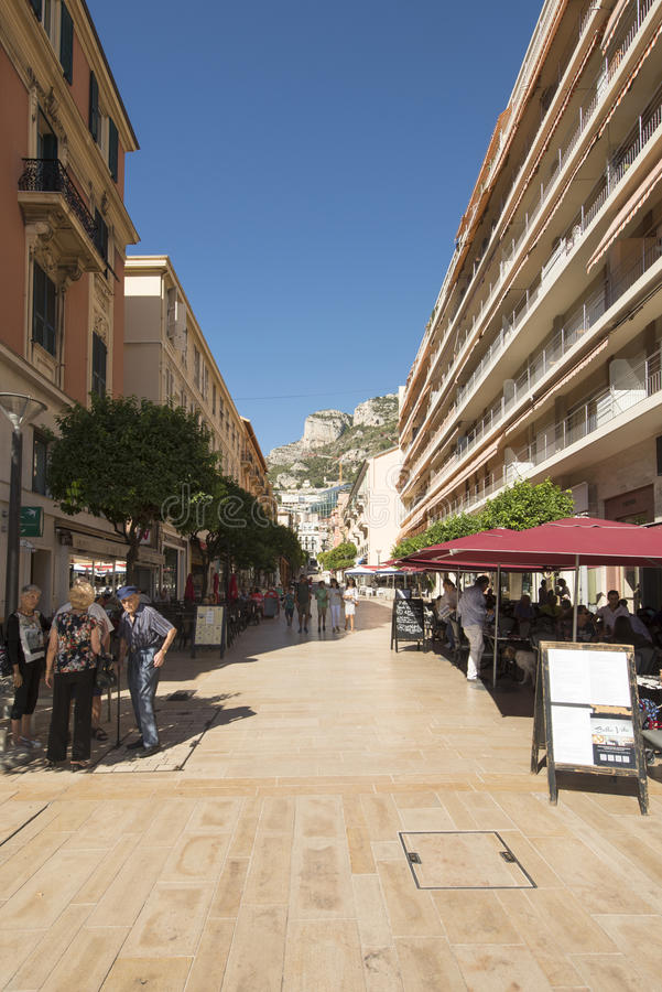 Rue Princesse Caroline, Monaco. Rue Princesse Caroline street in Monaco City district, Monaco. Monaco is a sovereign city-state and microstate, located on the royalty free stock photos