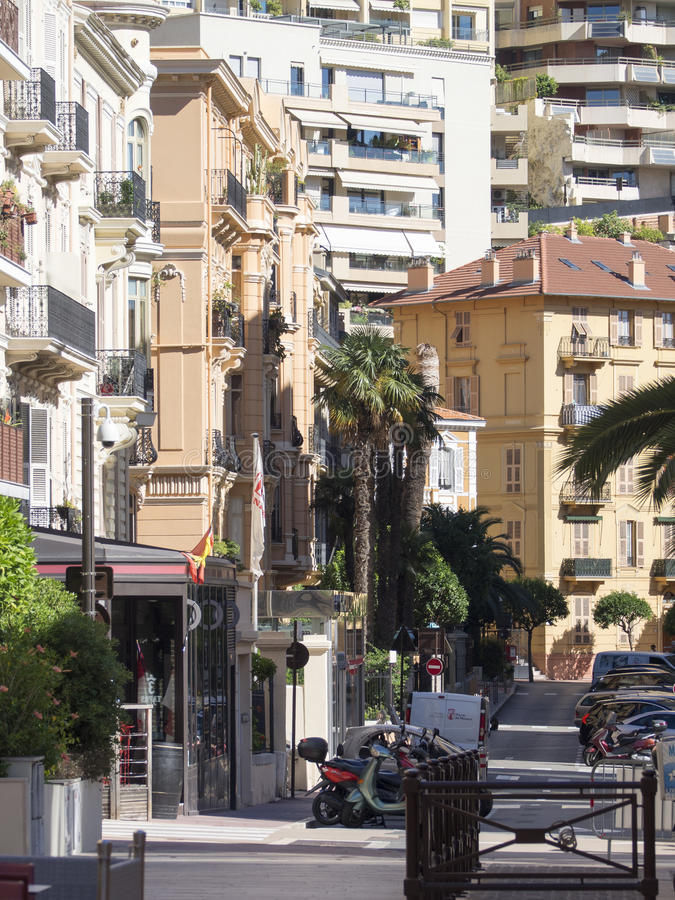 Rue Princesse Florestine, Monaco. Rue Princesse Florestine street in Monaco. Monaco is a sovereign city-state and microstate, located on the French Riviera in stock image