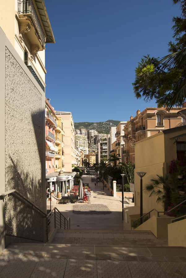 Rue Princesse Florestine, Monaco. Rue Princesse Florestine street in Monaco. Monaco is a sovereign city-state and microstate, located on the French Riviera in stock photo