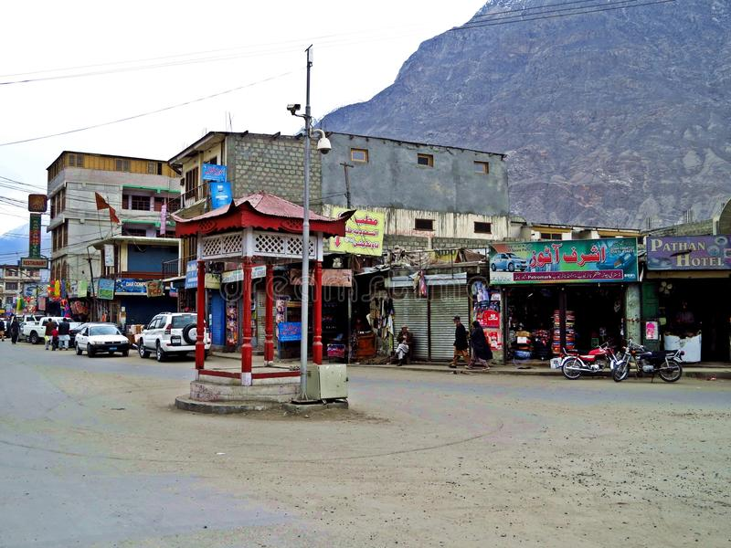 rue principale de Gilgit, capitale de secteur de Gilgit-Baltistan, Pakistan photo stock