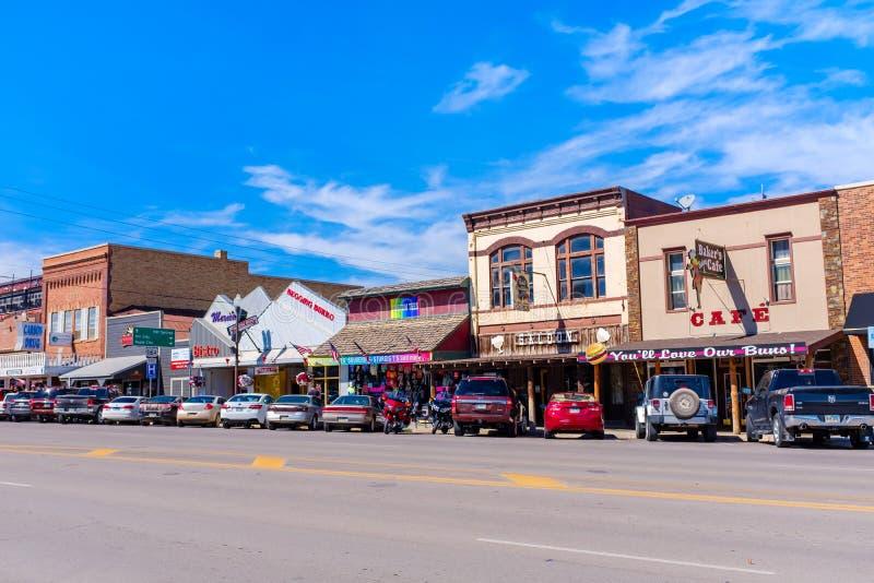 Rue principale en Custer, le Dakota du Sud images libres de droits