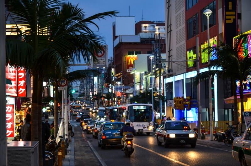 Rue principale, Naha City, l'Okinawa photo libre de droits