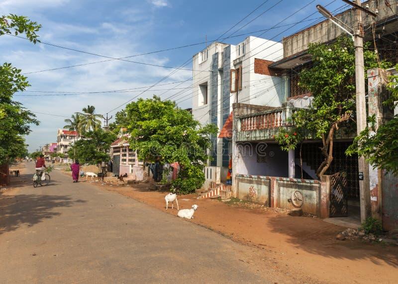 Rue résidentielle dans Kumbakonam image libre de droits