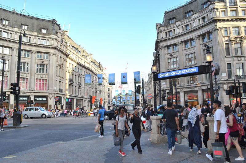 Rue Regent Street Oxford Circus London d'Oxford photos libres de droits